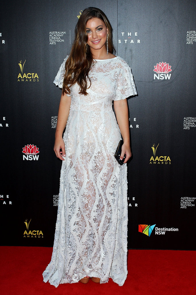 Charlotte Best wore a sheer white dress to the AACTA Awards.