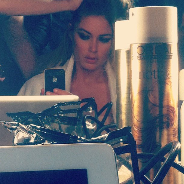 Doutzen Kroes was hard at work on the set for a 16-hour day. Source: Instagram user doutzenkroes1