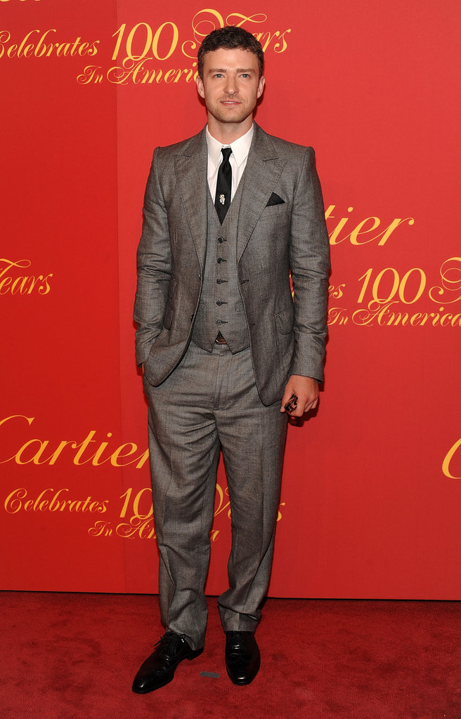 Justin looked seriously sharp in a three-piece suit at Cartier's 100th anniversary event in April 2009.