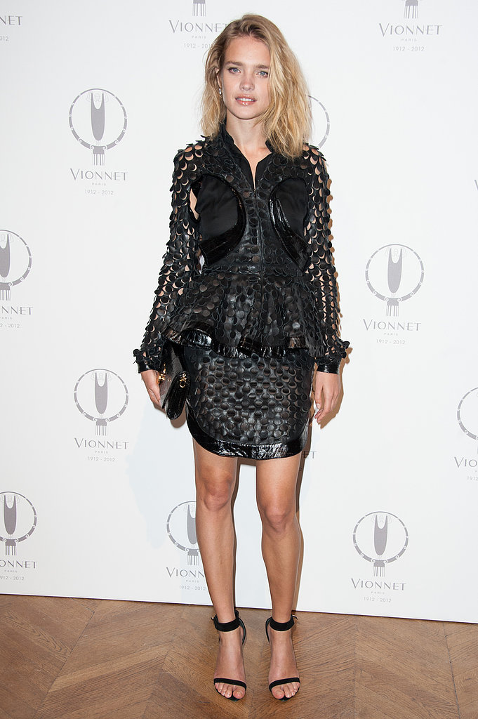 Natalia Vodianova gave her LBD an ultratextured feel, only adding a pair of Givenchy's must-have ankle-strap sandals for the finish at Vionnet's 100th anniversary in Paris.