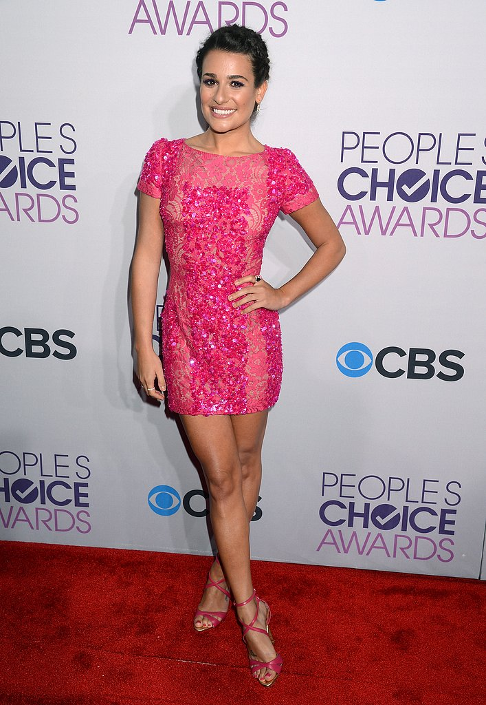 Lea Michele's sequined pink Elie Saab minidress and matching strappy sandals were pink perfection at the 2013 People's Choice Awards. To go daring like Lea, find an equally sassy pink sequin dress.