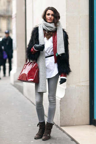 Shades of red and cozy textures — plus a pair of walkable, buckled booties — mean this casual look was cooler than most.  Source: Adam Katz Sinding