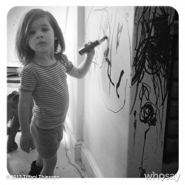 Tiffani Thiessen wasn't in the room when lil Harper decided to decorate the walls. Source: Instagram user tathiessen