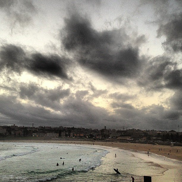 This crazy weather makes for some pretty sight-seeing, that's for sure. Alison watched the storm clouds roll in over Bondi on a balmy summer day.