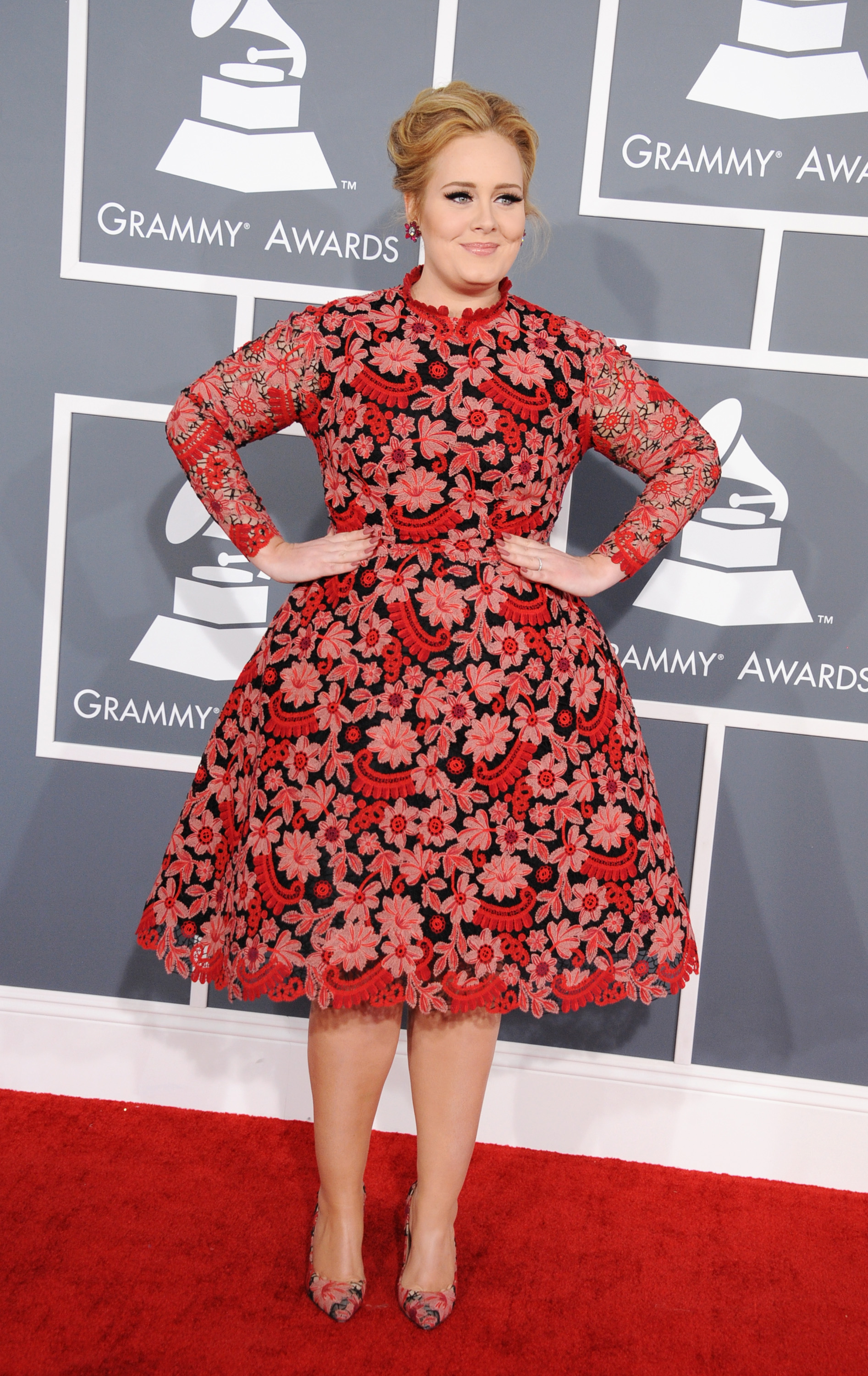 Adele opted for a red and pink Valentino dress.