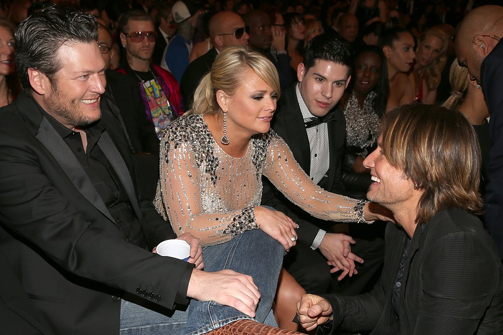 Blake Shelton, Miranda Lambert and Keith Urban had a country music reunion inside the Grammy Awards.
