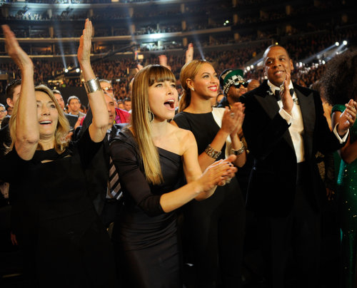 Jessica Biel, Beyoncé, and Jay-Z cheered on Justin Timberlake from the audience.