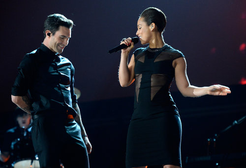 Alicia Keys and Adam Levine sang together at the Grammys.