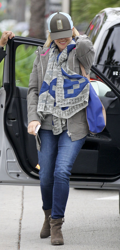 Reese Witherspoon smiled as she got out of her car at the mall.