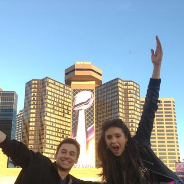Nina Dobrev and a friend posed in front of a Super Bowl sign in New Orleans on Sunday. Source: Instagram user nindobrevpriv