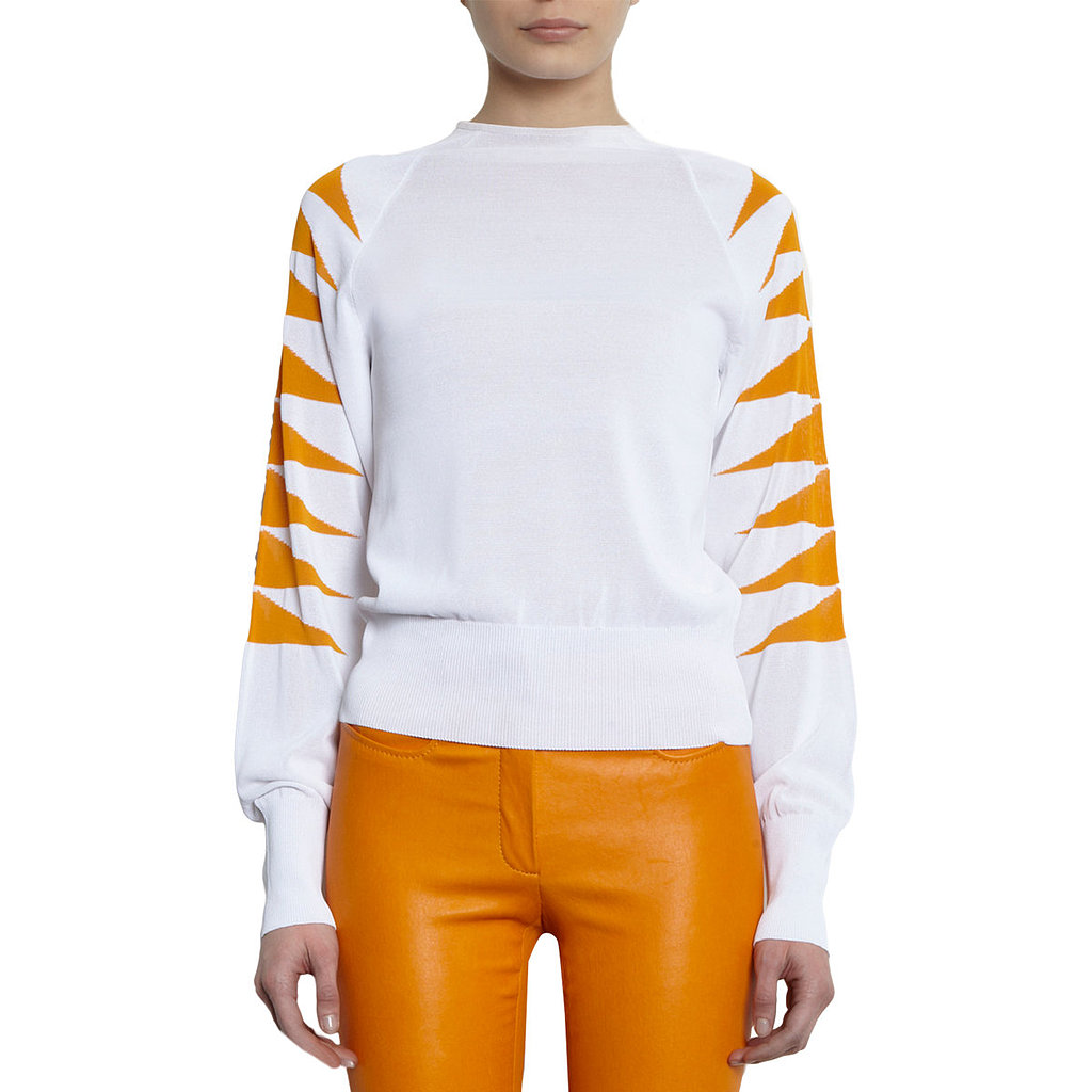 Mugler's tiger sweater ($339, originally $1,360) is still a hefty investment, but we can't get enough of the brand's chic take on animal prints.