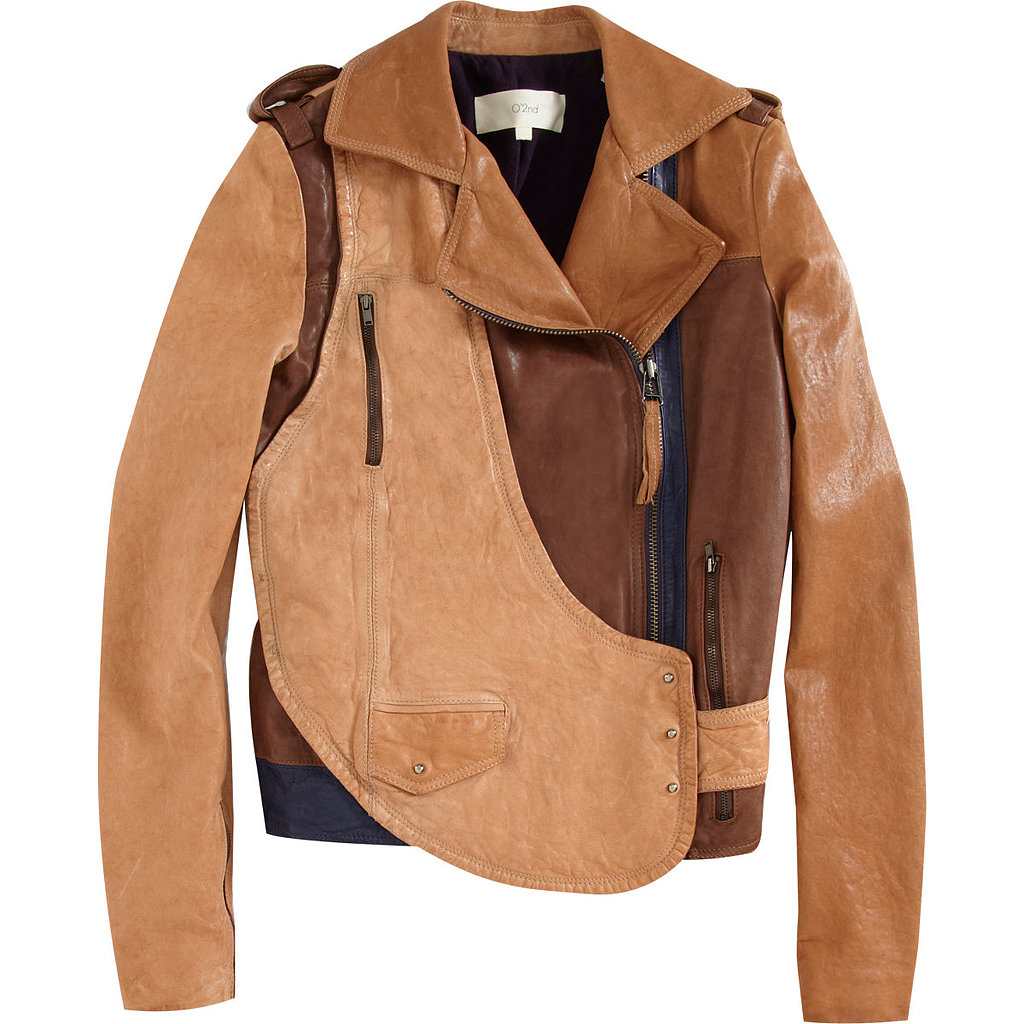 O'2nd's colorblock leather jacket ($479, originally $1,200) can easily pair with wool trousers now and later into Spring with floral-print dresses.