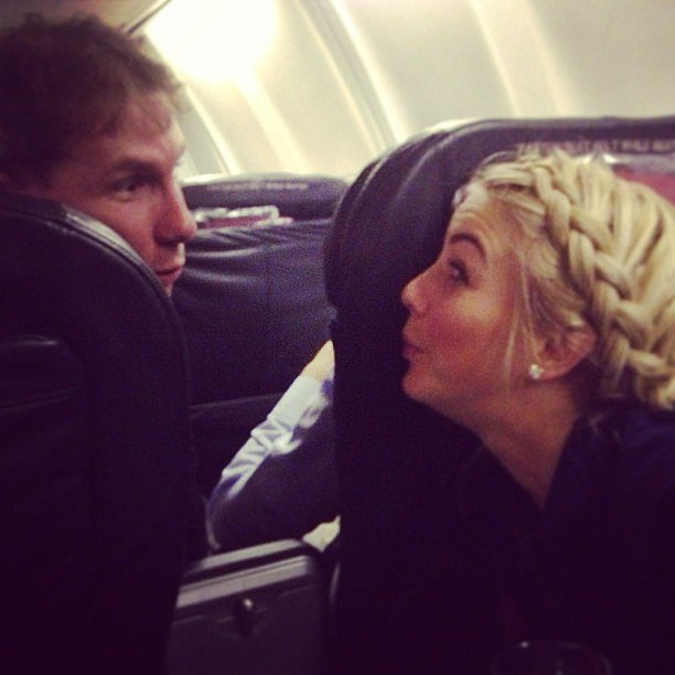 Julianne Hough and Nicholas Sparks got silly during a flight to Philadelphia. Source: Instagram user juleshough