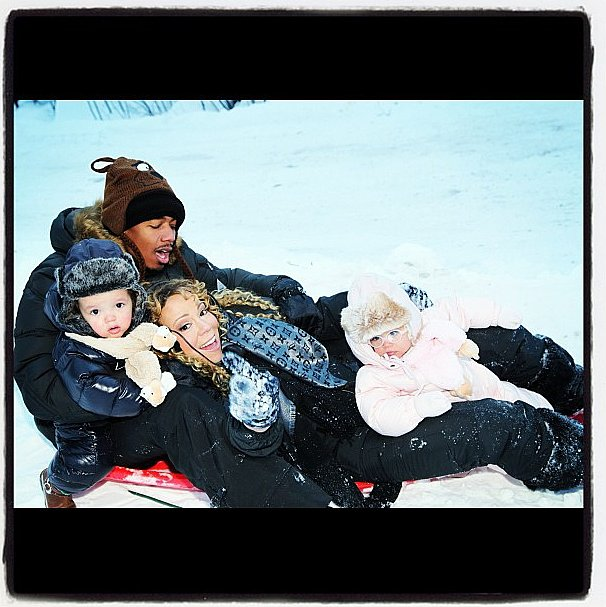 The Carey-Cannon family bundled up for a sleigh ride during the holidays. Source: Instagram user nickcannongram