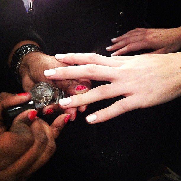 China Glaze chose a Winter-white nail color for the Tadashi Shoji show.