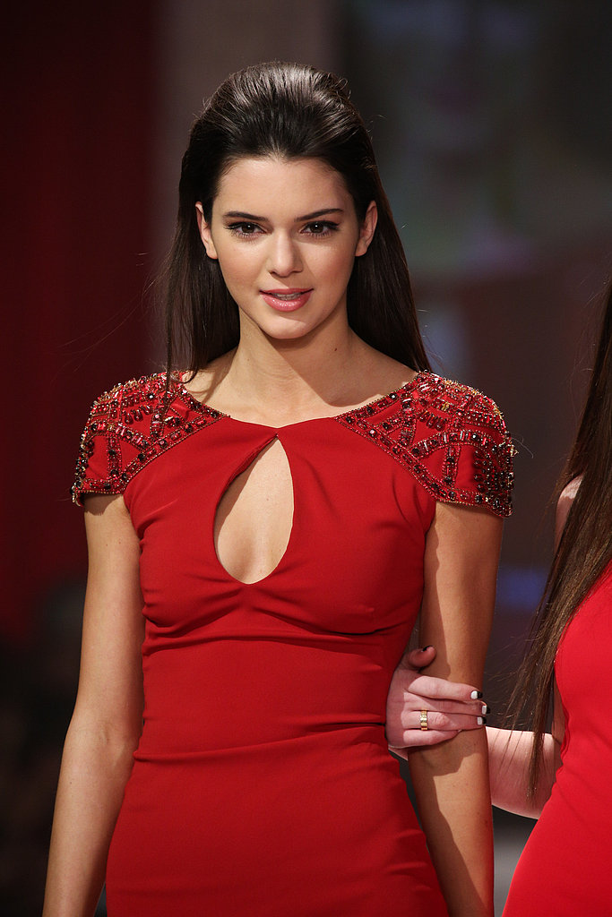 Kendall Jenner wore a gown with beaded shoulders.