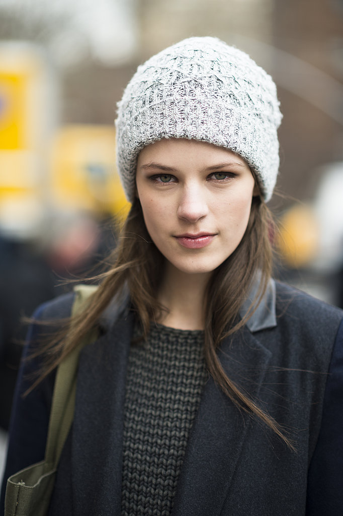 Pair your Winter cap with some heavy eyeliner and glossy lips for a fully balanced (and beautiful) look like model Kayley Chabot. Source: Le 21ème | Adam Katz Sinding
