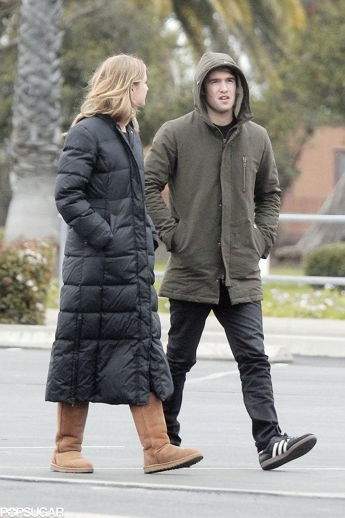 Emily VanCamp walked around set with Joshua Bowman.