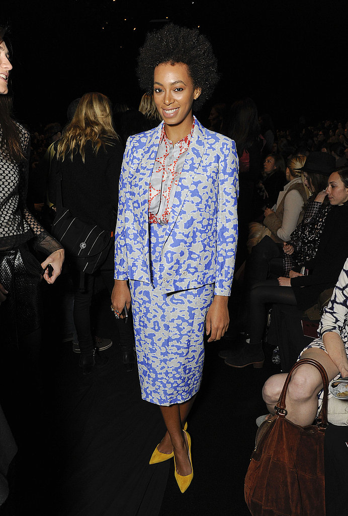 During New York Fashion Week Fall 2013, Solange Knowles showed her support for Diane von Furstenberg in a floral periwinkle blue blazer and matching pencil skirt by the designer. She finished off her print pairing with an orange and grey blouse and pointed yellow pumps.