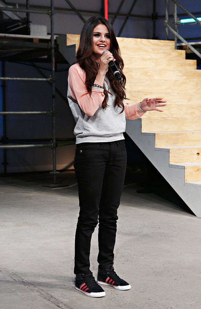 Selena Gomez addressed the crowd at the end of the Adidas NEO Label fashion show in New York on February 6. She's the label's style ambassador.
