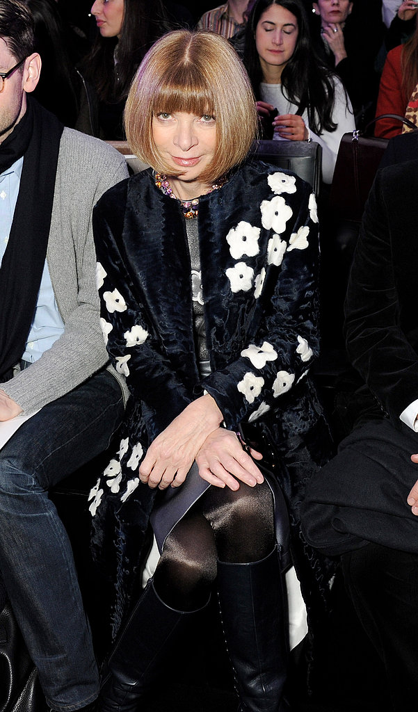Anna Wintour brought her floral Prada coat to Mulberry's front row.