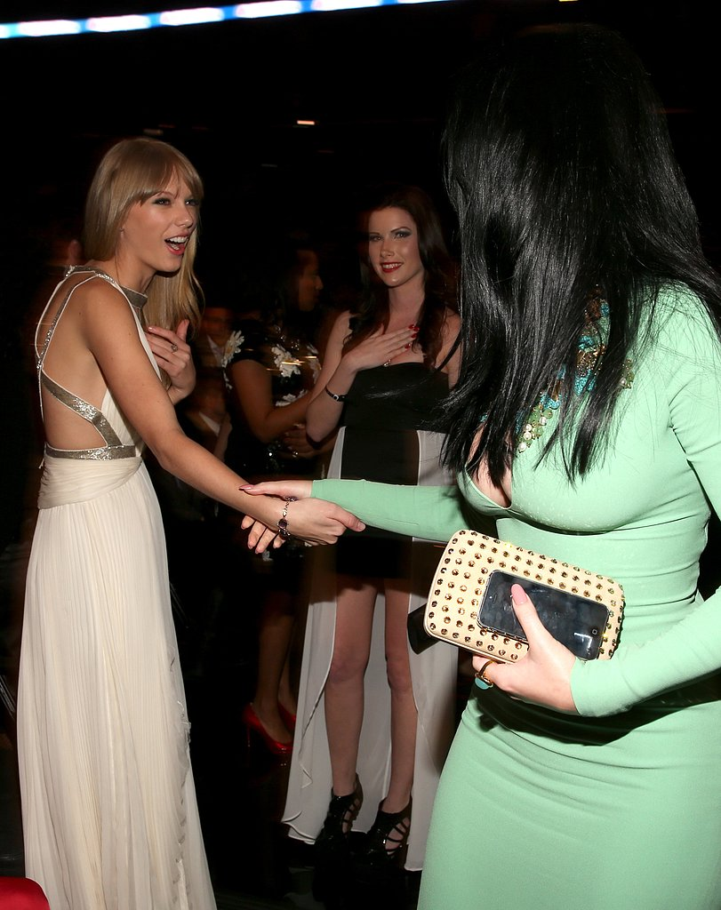 Taylor Swift said hi to Katy Perry in passing.