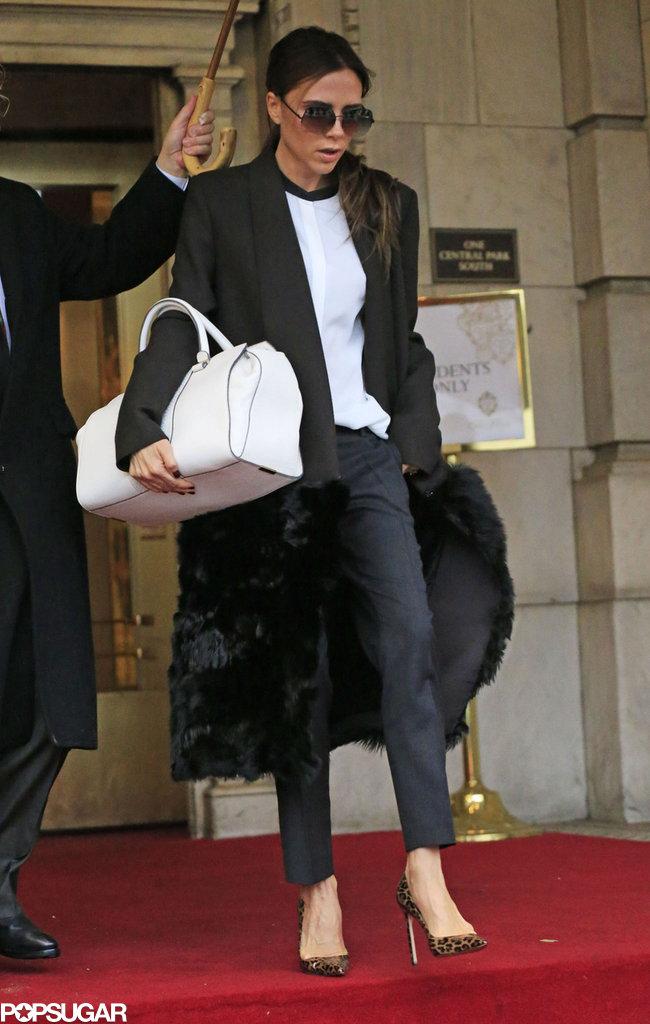 Victoria Beckham donned high heels.