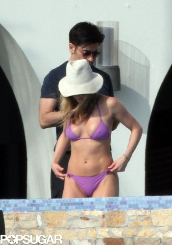 In November 2010, Jennifer Aniston went with a bright purple bikini in Mexico.