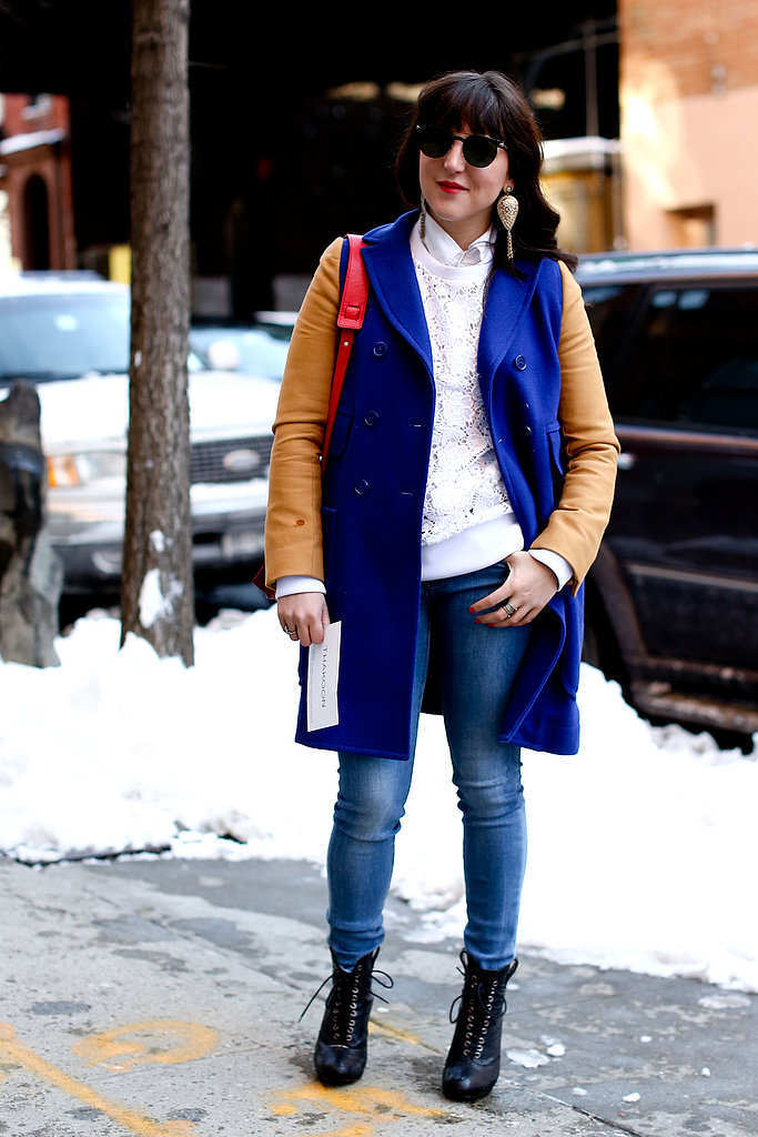 A colorblocked coat added intrigue to basic blue jeans.