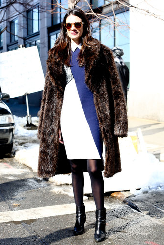 A sleek dress was the perfect counterpoint to a luxe fur.