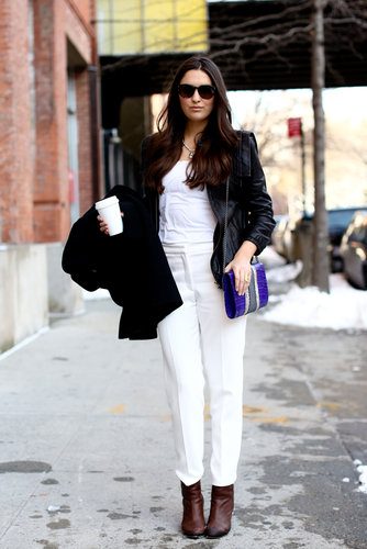 White on white was anchored with a black topper and classic brown booties.
