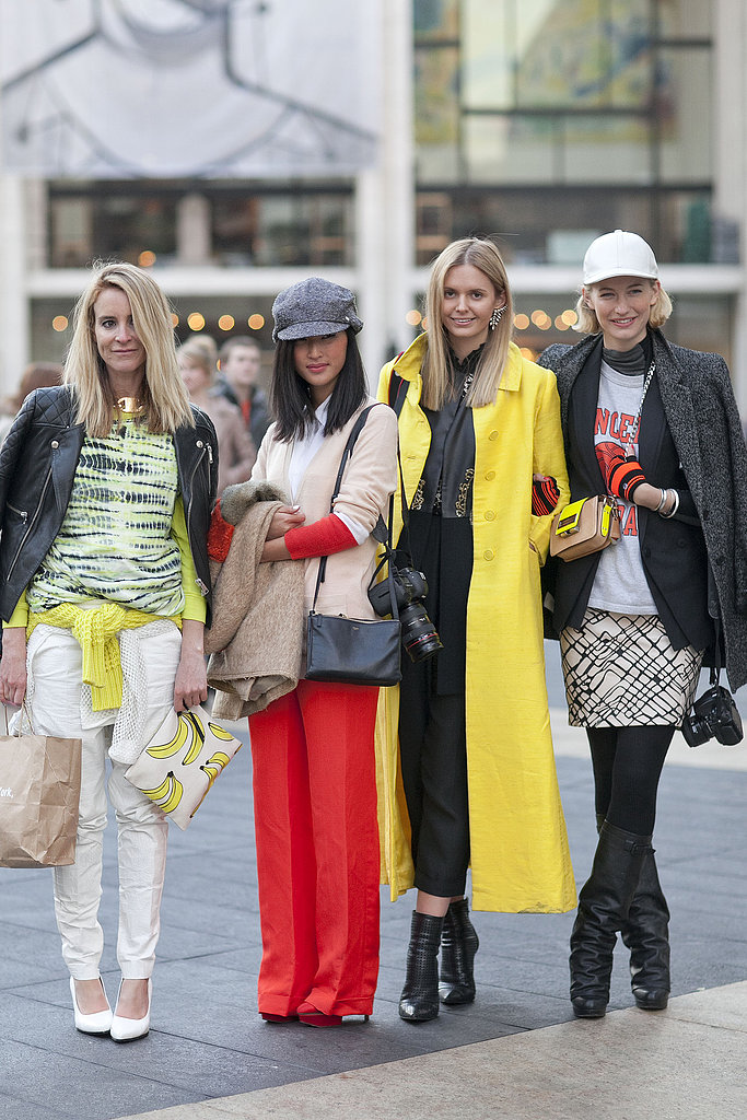 The mod quad — brights, prints, statement coats, and killer footwear. What more could you ask for in a Fashion Week clique?