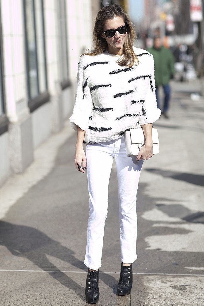 Noteworthy white on white with just hints of black points to one of Spring's biggest trends.