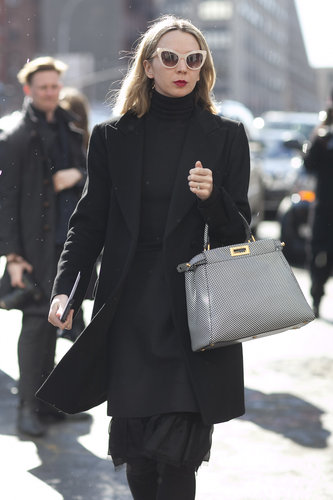 Quirky shades livened up these all-black layers.