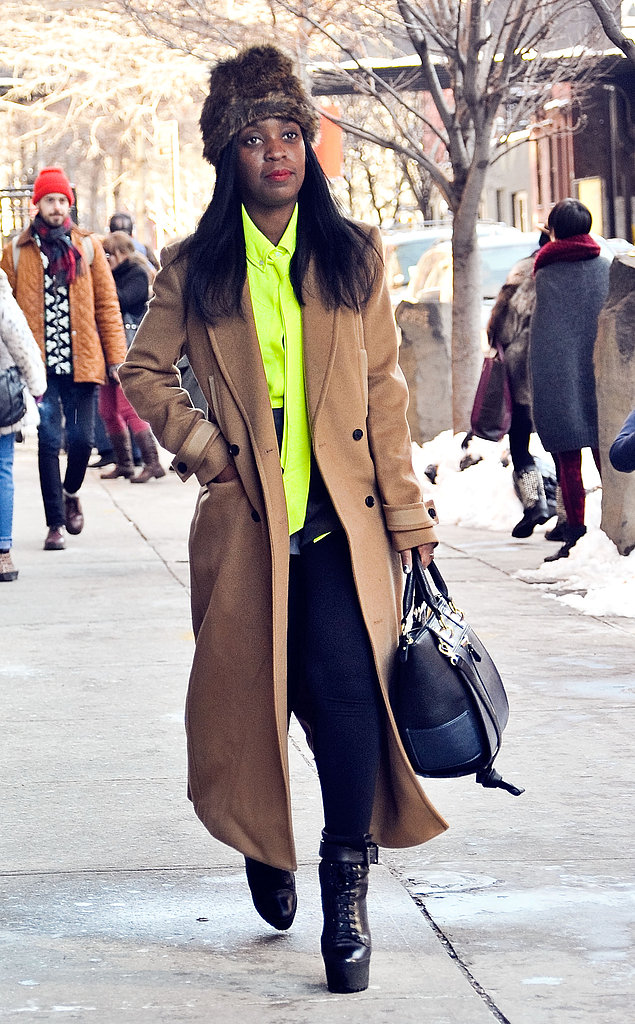 Note how just a pop of neon perked up a classic camel coat. Now test-drive the look on your own.