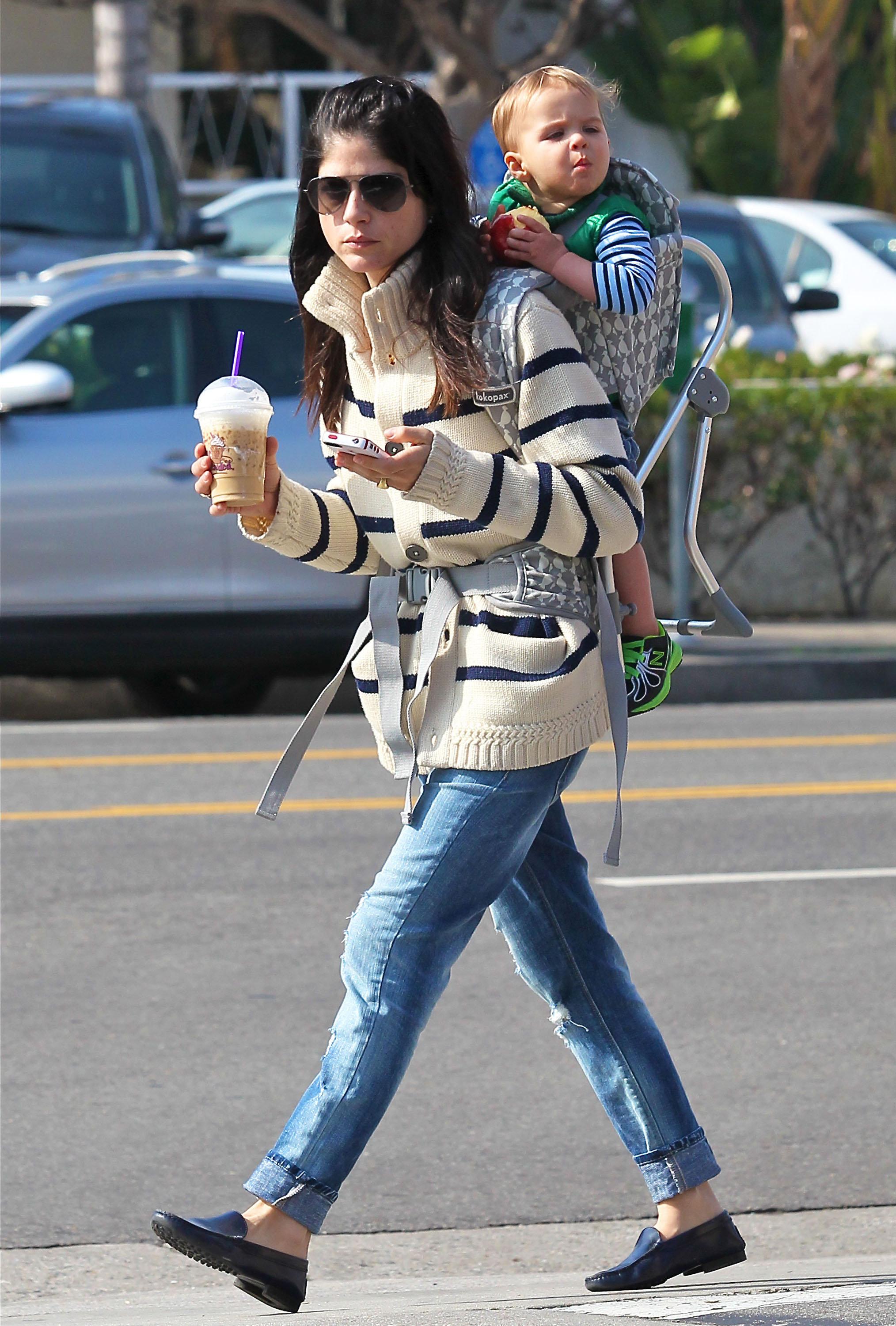 Selma Blair carried Arthur Bleick on her back for an outing in LA.