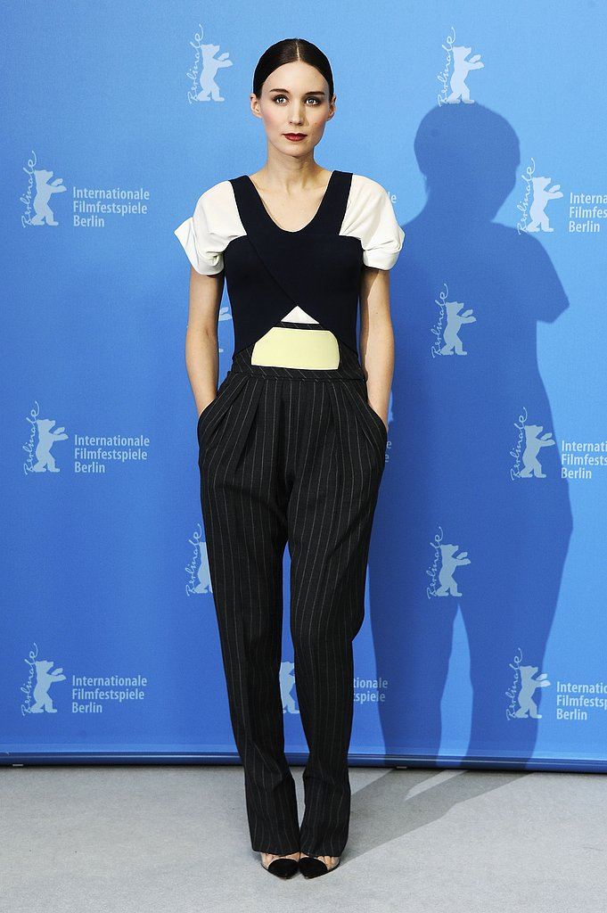 Rooney Mara went for pinstriped pants at the photocall fo