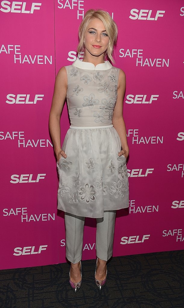 At the NYC screening of Safe Haven, Julianne Hough looked fashion-forward in her Georges Hobeika ensemble — we love the combination of her floral-embellished dress and cropped trousers.
