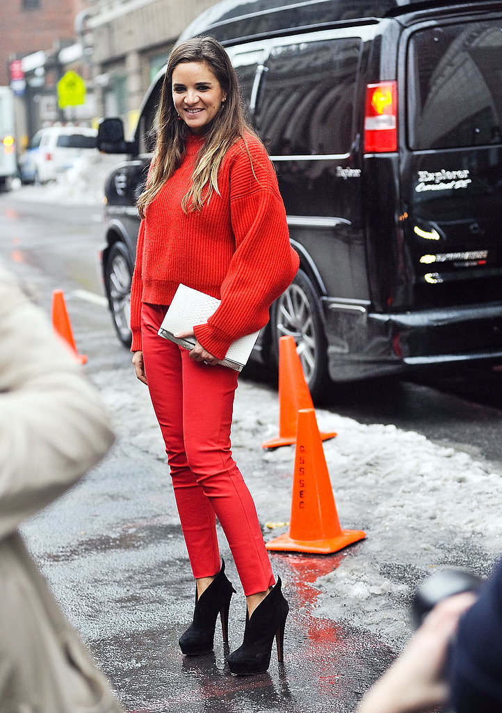Red on red makes for the brightest kind of monochromatic look.