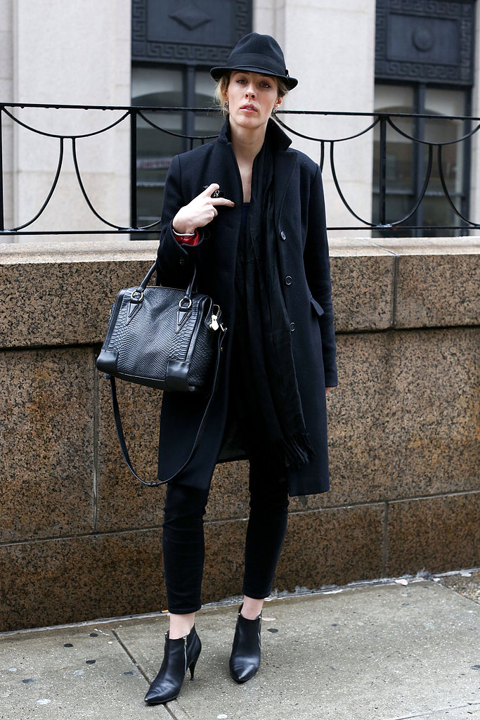 A fedora added boyish appeal to a wool coat and booties.