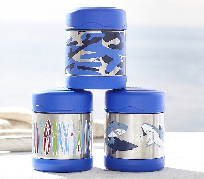 Kids can choose between shark, camo, and surfboard designs when they pick up a blue hot/cold container ($20).