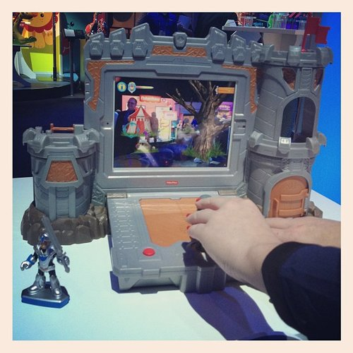 The Imaginext Fortress attaches to an iPad for augmented reality play.