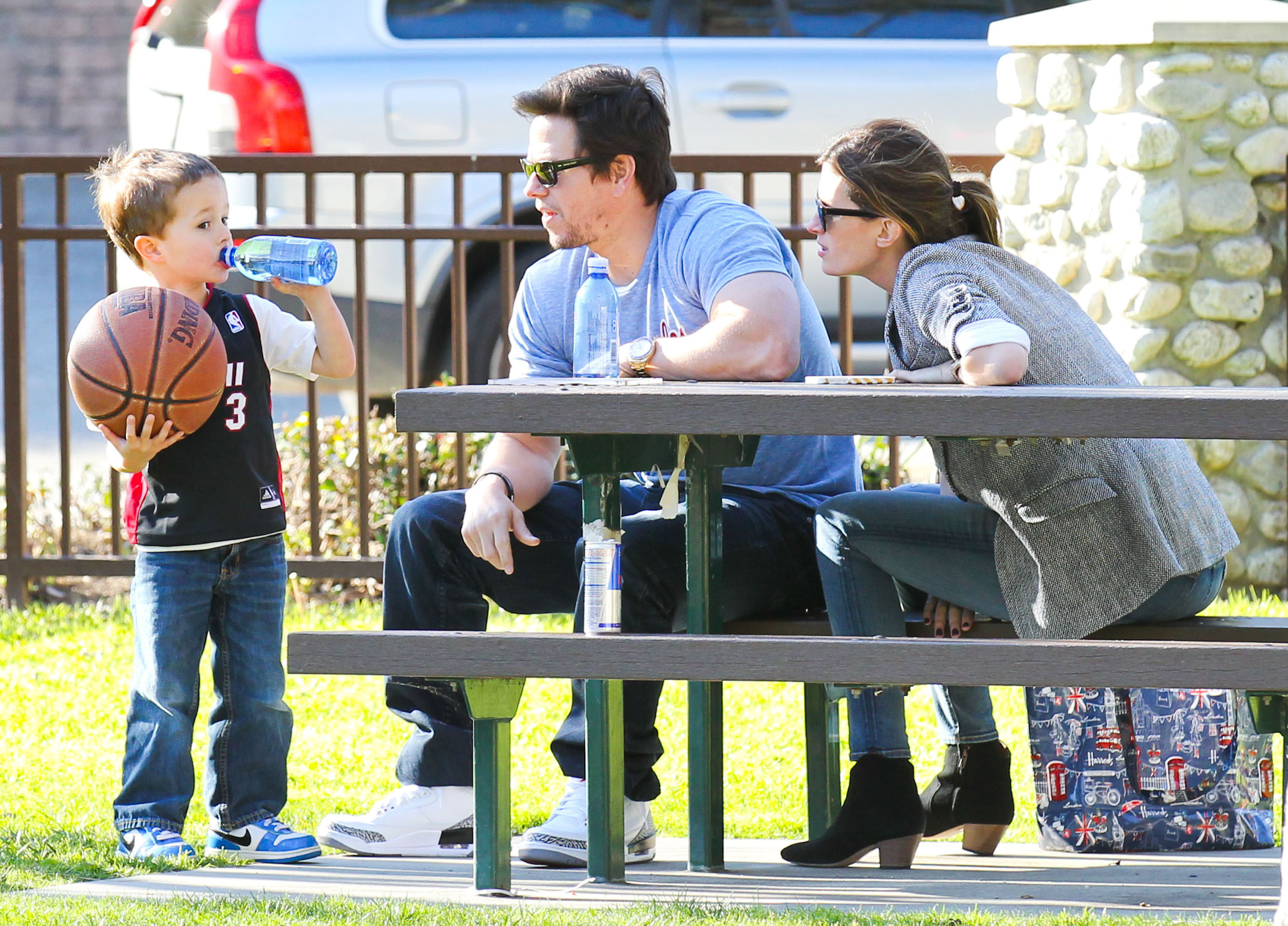 Mark Wahlberg and Rhea Durham watched Brendan's basketball practice.