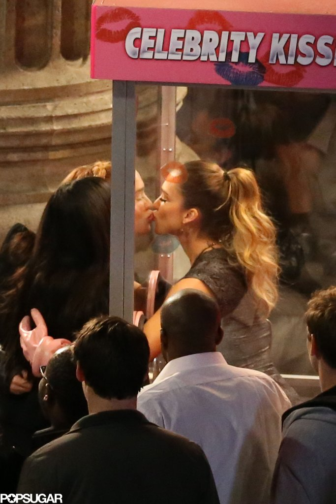 Jessica Alba took part in a Celebrity Kissing Booth on Jimmy Kimmel Live!