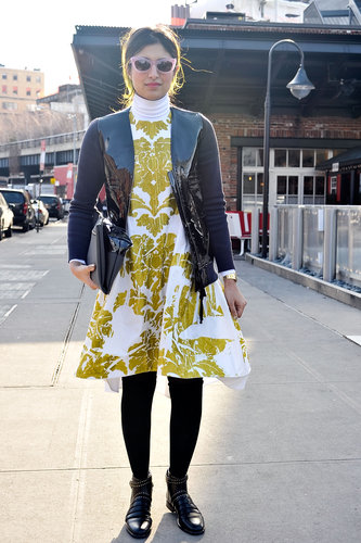 A baroque fit-and-flare was an opulent centerpiece, while a moto jacket and flat boots tempered the look.