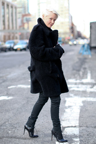 There was ample texture in this all-black ensemble to add interest.