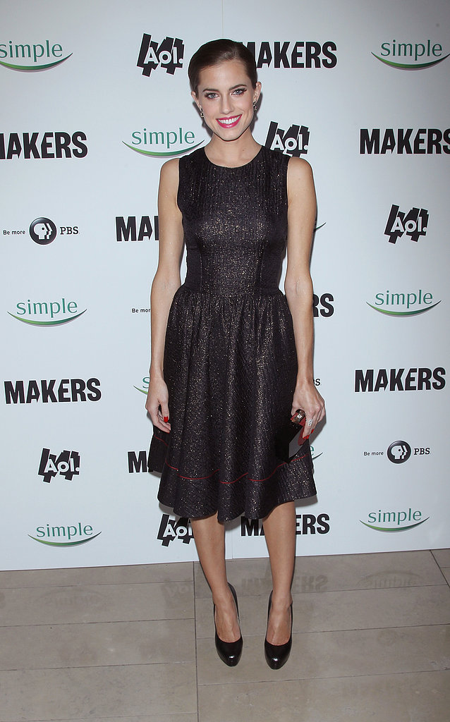 At the NYC premiere of Makers: Women Who Make America earlier this year, Allison put a modern spin on the classic LBD working a shimmering Sophie Theallet number with patent black pumps. She accessorized her ladylike look with a sleek chignon, a red-and-black minaudière, and a matching manicure.