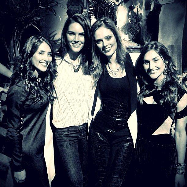 Hilary Rhoda and Coco Rocha posed with Dannijo designers Danielle and Jodie Snyder during their Fall '13 presentation. Source: Instagram user cocorocha