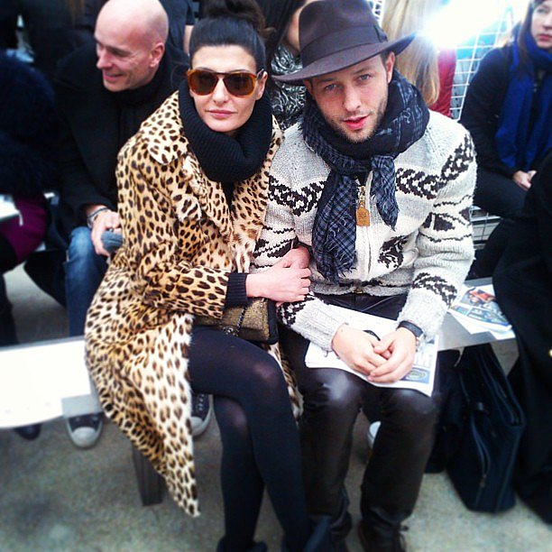Giovanna Battaglia and Derek Blasberg stayed chic in their front-row seats. Source: Twitter user DerekBlasberg