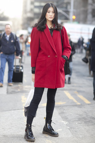 A berry-hued coat is a nice alternative from the usual Winter wear.